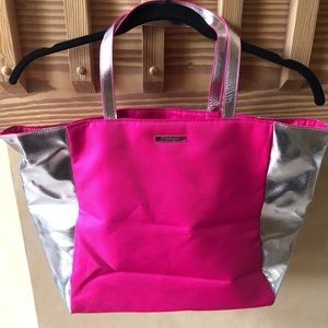Clinique Pink and Silver Tote Bag